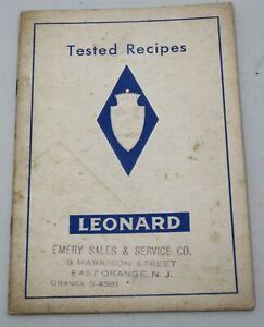 1930's LEONARD REFRIGERATOR TESTED RECIPES for Cold Cookery Detroit
