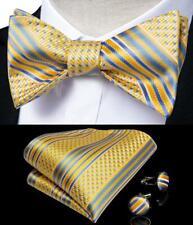 Mens Silk Yellow Blue Self Bow Tie Set Striped Necktie Bowtie Hanky Cufflinks