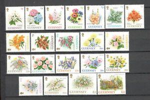 GUERNSEY - FLOWERS - SHORT SET #476-96 - MNH - YRS 1992-6