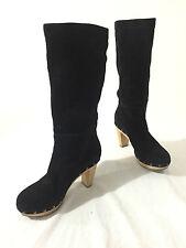 Banana Republic Boots Black Suede Wood Heels Size 6M