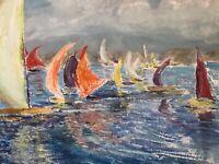 🔥 Antique Mid Century California Impressionist Painting Newport Regatta GOULD
