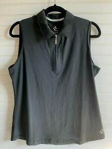 Jofit Women's XL Black Sleeveless Polo Golf Shirt Moulded Zip Front Scooped Hem