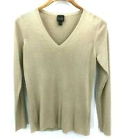 Eileen Fisher Womens Gold Metallic V-Neck Long Sleeve Sweater Size XS