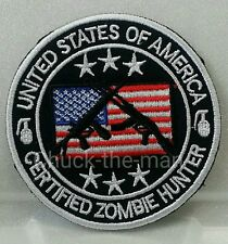 Certified ZOMBIE HUNTER Embroidered Shirt/Hat/Jacket Iron on Patch USA AK47 AR15
