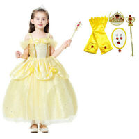 Girl Belle Princess Dress up kid Beauty and the beast Halloween cosplay costume