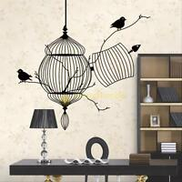 Black Birdcage Bird Removable Art Wall Sticker Home Decor Decal  DIY Vinyl Mural