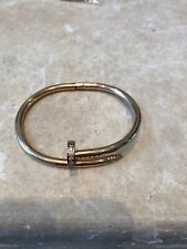 Women's Men Cubic Zircon Nail Rose Gold Plated Copper Bracelet