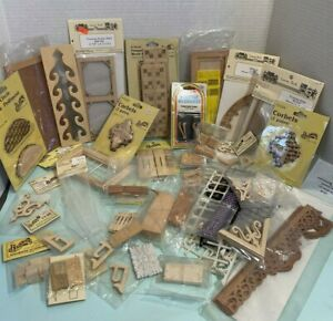 Vintage Many NOS Building Items Doors Balusters Deco Dollhouse Miniature 1:12