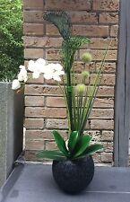 Neu edles Gesteck Orchidee Calla Kunstblumen creme/grünTisch-Deko Fensterschmuck