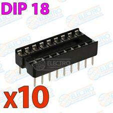 Zocalo integrado DIP 18 doble contacto 18 pines Socket IC DIP18 - Lote 10 unidad