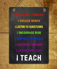metal hanging sign teacher I Teach motivational quote wall door plaque gift