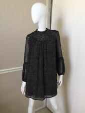 ZARA Collection NEW Black/White Polka Dot Smocked High Neck Long Sleeve Dress XS
