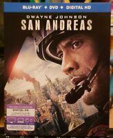 San Andreas (Blu-ray/DVD, 2015) w slipcover. No digital. Dwayne Johnson.
