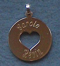 pendentif acier rond troué coeur gravé personnalisé médaille de l amour +prénoms