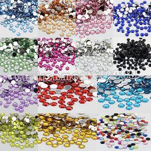 2000pcs Crystal Rhinestone Silver Flat Back Diamante Acrylic Gems 2 3 4 5 mm