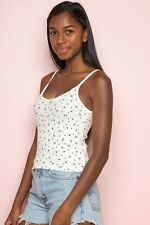 New! Brandy Melville cream blue floral scoopneck Marlena tank top NWT S