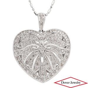 Italian 0.40ct Diamond 14K Gold Locket Heart Pendant Chain Necklace 7.0 Gram NR