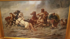antique painting 19th of Russian trojka