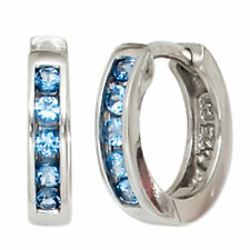 JOBO Creolen rund 925 Silber 10 Zirkonia blau Ohrringe Silberohrringe Silbercreo