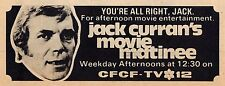 1973 CFCF MONTREAL TV AD~JACK CURRAN'S MOVIE MATINEE~CANADIAN TELEVISION PROMO