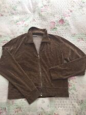 Luxurious PAUL SMITH stripy Velour Zip Up Top-size XL 16/Chest 44in Brown/ Cream