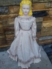 """Beautiful Vintage Bisque and Cloth Doll Inches Painted Face 18"""" Handmade Dress"""