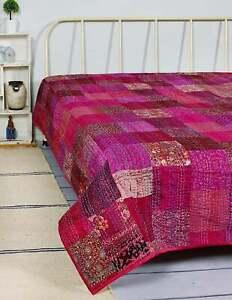 Handmade Indian Vintage Bohemian Pink Silk Patchwork Quilt Kantha Quilts Throw