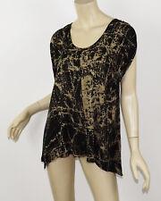 ELLA MOSS Black & Beige Printed Soft Jersey Drape Sleeve Sharkbite Loose Top S