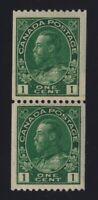 Canada Sc #131i (1915-24) 1c dark green Admiral Coil Paste-Up Pair Mint VF NH