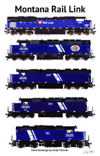 """Montana Rail Link Locomotives 11""""x17"""" Railroad Poster by Andy Fletcher signed"""