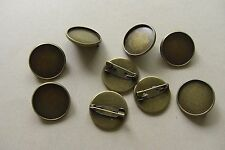 10 ANTIQUE BRONZE TONE ROUND CABOCHON SETTING PIN BROOCHES -  Fits 20mm DIAMETER