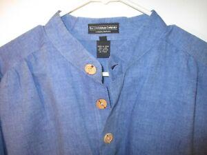 Vintage Large Blue THE J. PETERMAN COMPANY 1/2 Button Cotton/Linen Shirt