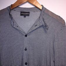 Emporio Armani Men's Striped Black & White Designer Shirt Size Small
