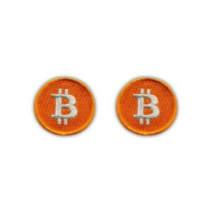 Bitcoin - Set Of 2 - small (3.8 cm) Embroidered PATCH/BADGE