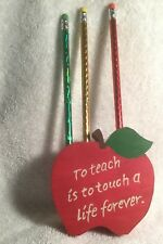 Hand-crafted Wood Apple Teacher Pencil Holder