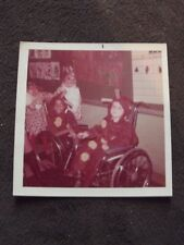 TWO YOUNG BOYS IN WHEELCHAIRS DRESSED AS COWS FOR HALLOWEEN 1970'S  PHOTO