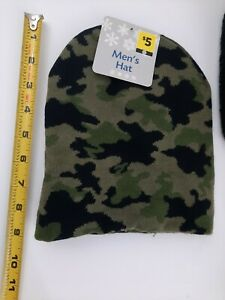 Mens Camouflaged Thick Warm Winter Hat - One Size New Camo Green & Black