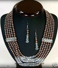 PARURE collier boucles d'oreille perles de culture marron bijoux fantaisie neuf.