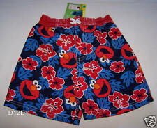 Sesame Street Elmo Kids Blue Red Printed Board Shorts Size 4 New