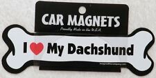"Dog Magnetic Car Decal, Bone Shaped, I Love My Dachshund, Made In Usa, 7"""
