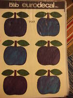 Vintage Retro BSB EURODECAL TRANSFER Blue Apples