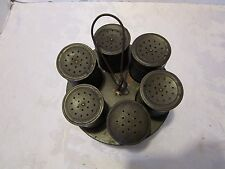 "ANTIQUE TIN METAL 7 PC SPICE SET HOLDER ROTATING HANGING PRIMITIVE vintage 9"" H"