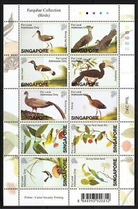 SINGAPORE 2002 FARQUHAR COLLECTION OF NATURAL HISTORY DRAWINGS BIRDS FULL SHEET