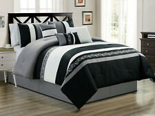 7-Pc Landry Floral Paisley Embroidery Comforter Set Black Gray Off-White King