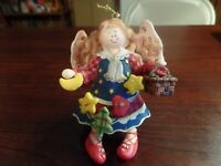 "4"" Tall Resin Angel W/Basket, Star, Tree, Moon, & Heart Christmas Ornament #4725"