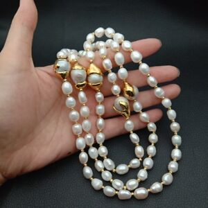 """24 K Gold Plated Keshi Pearl White Baroque freshwater Pearl  42""""Necklace"""