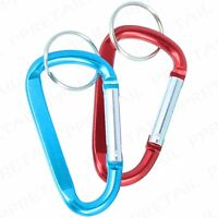 2 x SPRING LOADED CARABINER 8x80mm D-Ring Snap Hook Backpack/Rucksack Clasp Clip