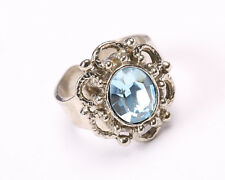 Silver Tone Ring with Blue Crystal, Vintage 1950s, Size O