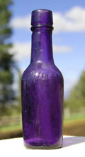 Pristine PURPLE little 1880's antique miniature SAMPLE WHISKEY cylinder bottle