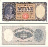 1961 Italia Banconota Lire 1000 Busto Italia D.M. 25-09-1961 NC  Vedi Foto